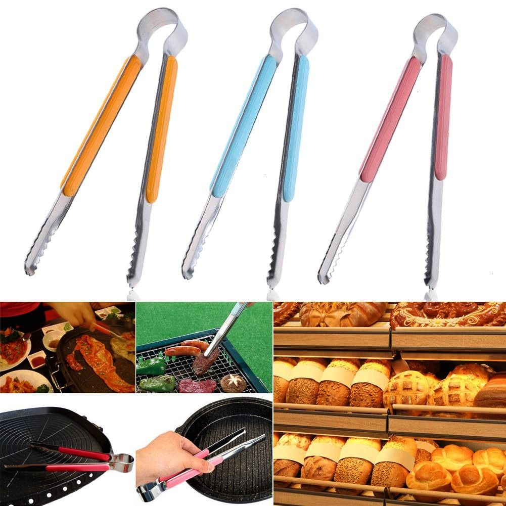 Silicone Stainless Food Tongs Salad bread Clamp Steak Clamp Pliers Kitchen Tools