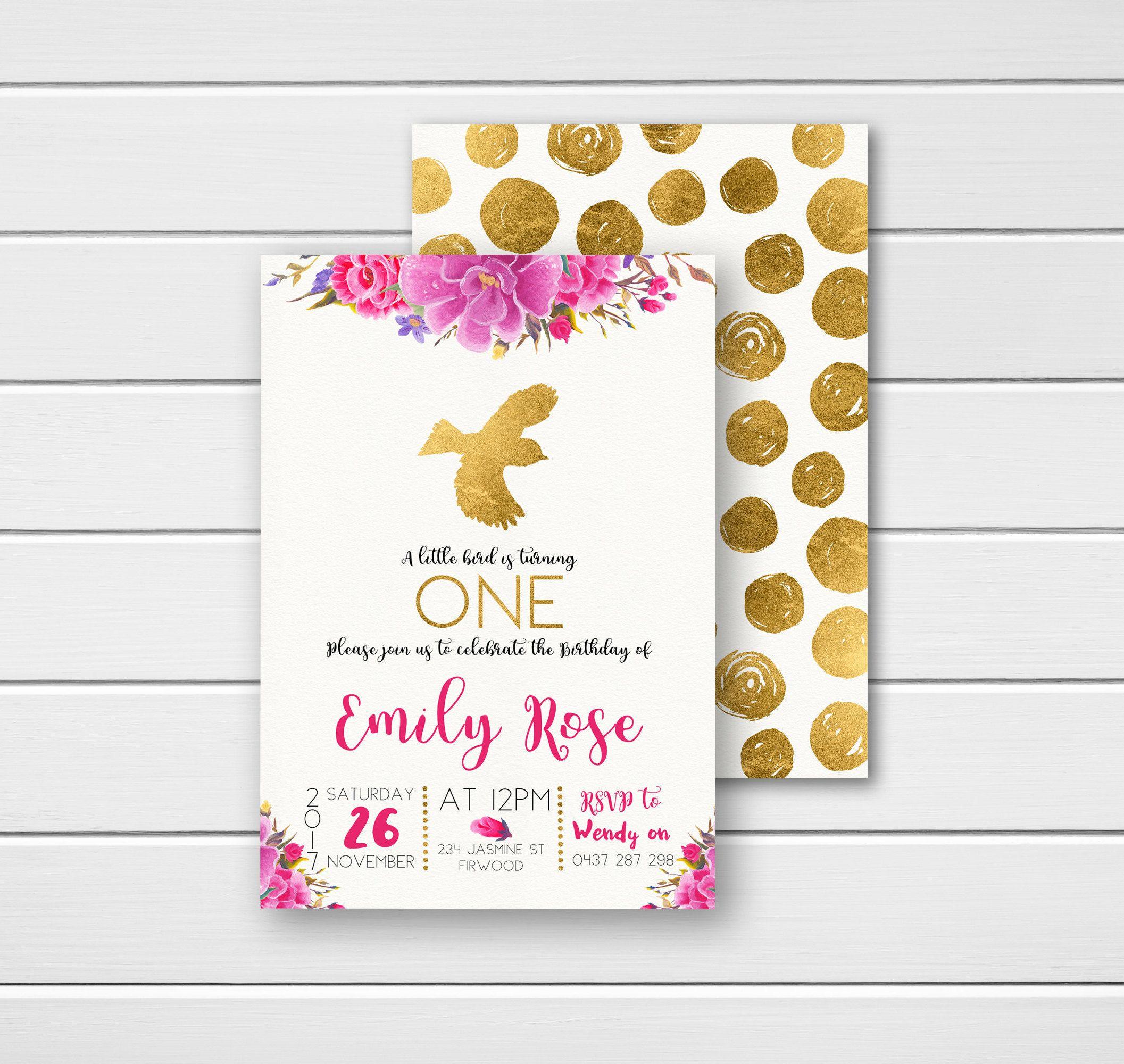 Pink Birthday Invites, Birthday Invitations, Pink And Gold, 1St Birthday