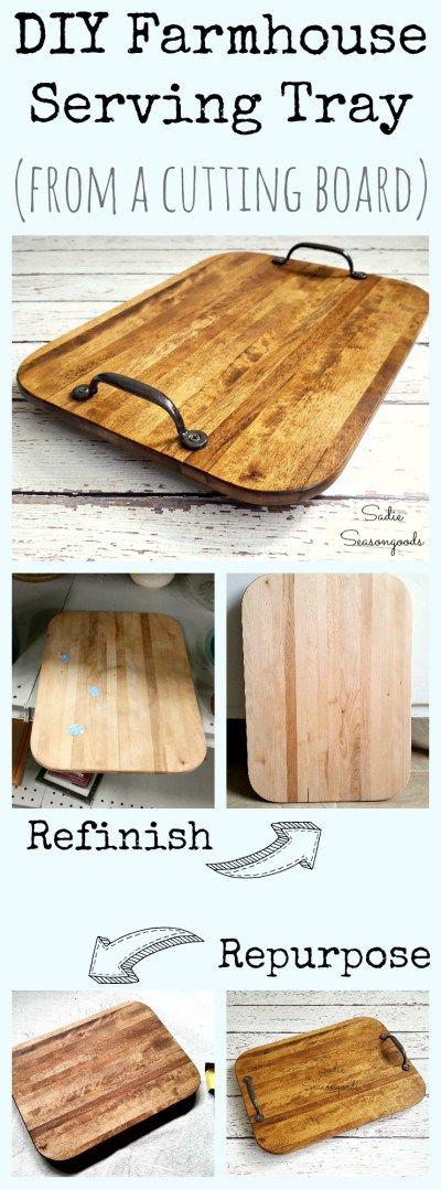 Diy Farmhouse Tray Using A Repurposed Old Cutting Board