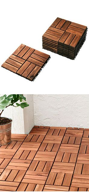 Runnen Decking Outdoor Brown Stained 9 Sq Feet Ikea Patio Flooring Outdoor Flooring Patio Decor