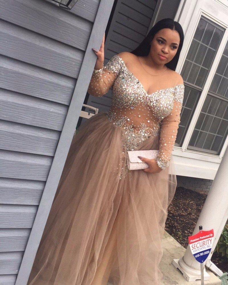 Plus size ball gown long sleeves crystal detailing prom dresses