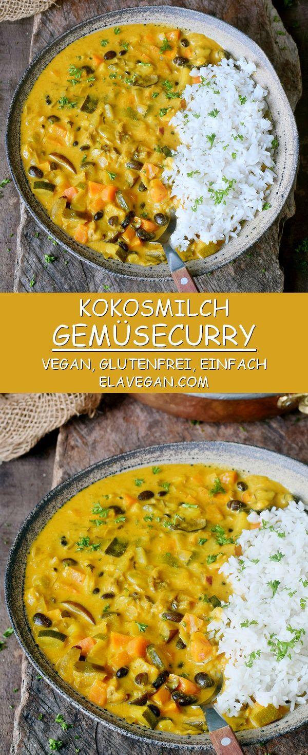 Cremiges Gemüsecurry Rezept mit Kokosmilch und Ananas - Elavegan #vegetariandish