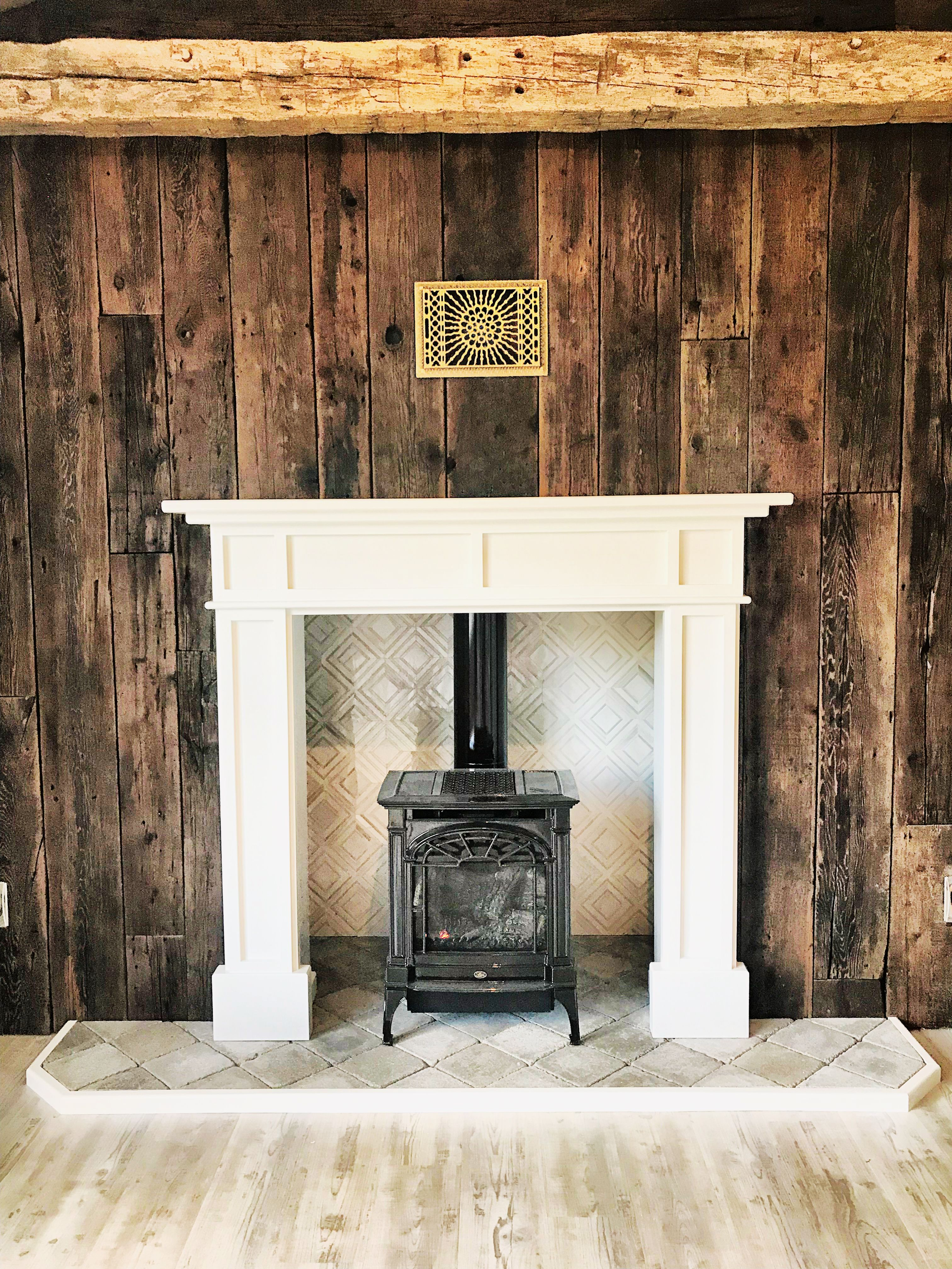 Freestanding Gas Stove Fireplace In Mantle With Barnwood Wall Freestanding Fireplace Fireplace Hearth Fireplace