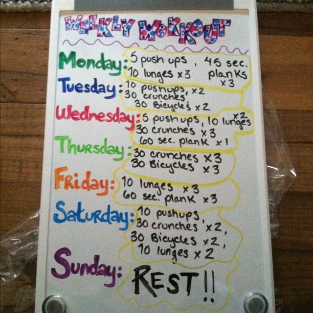 My Weekly Workout Plan Just Made For The New Year Get Fit