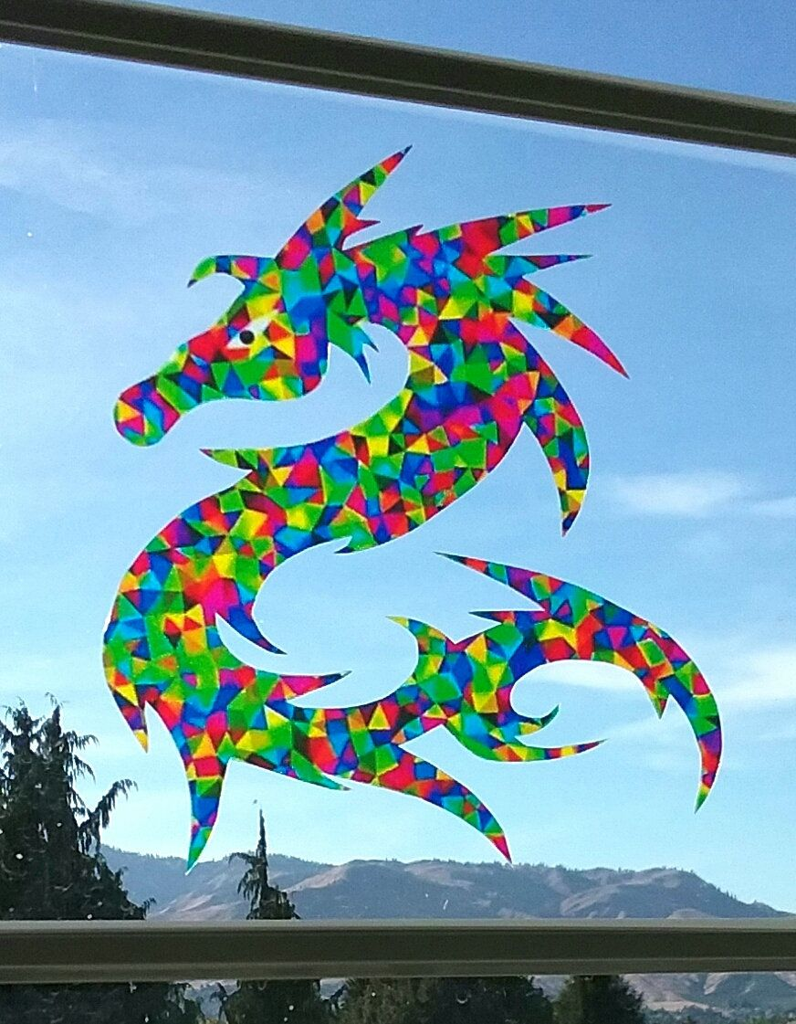 Watercolor Dragon Window Cling Suncatcher Faux Stained Glass