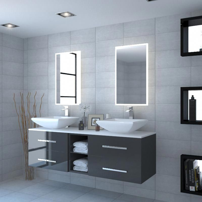 Grey Large Bathroom Wall Hung Double Basin With White Glass Work