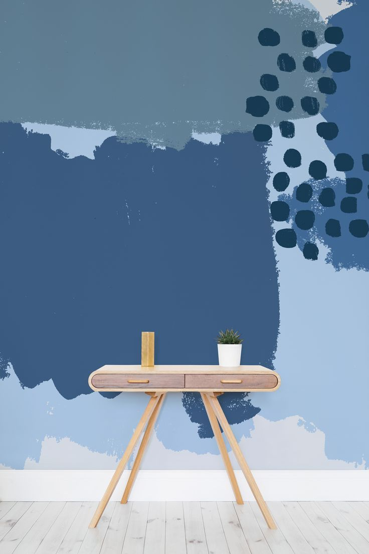Blue Abstract Painting Wallpaper Mural