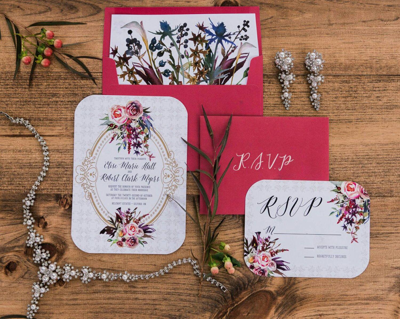 Printable Vintage Wedding Invitation + RSVP, Antique Gold Wedding ...