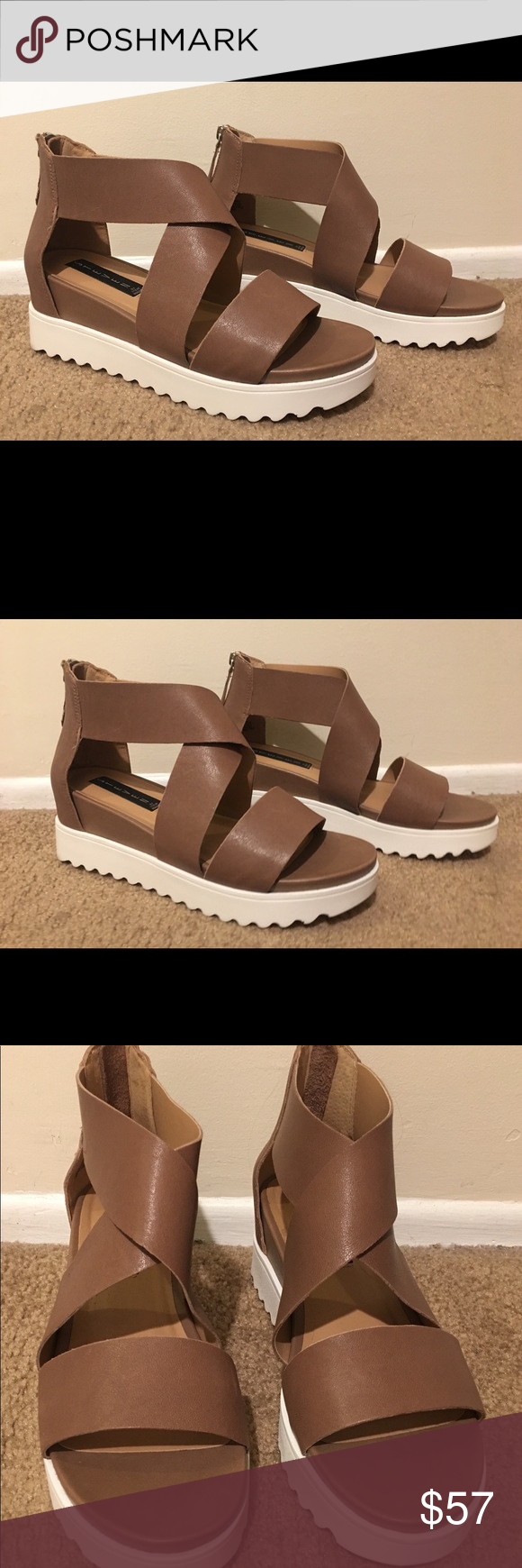 91552ff8360 Steve Madden Keanna platform sandal Pristine—never worn beautiful taupe tan  with white sole and silver zipper on back- Steven By Steve Madden Shoes  Sandals