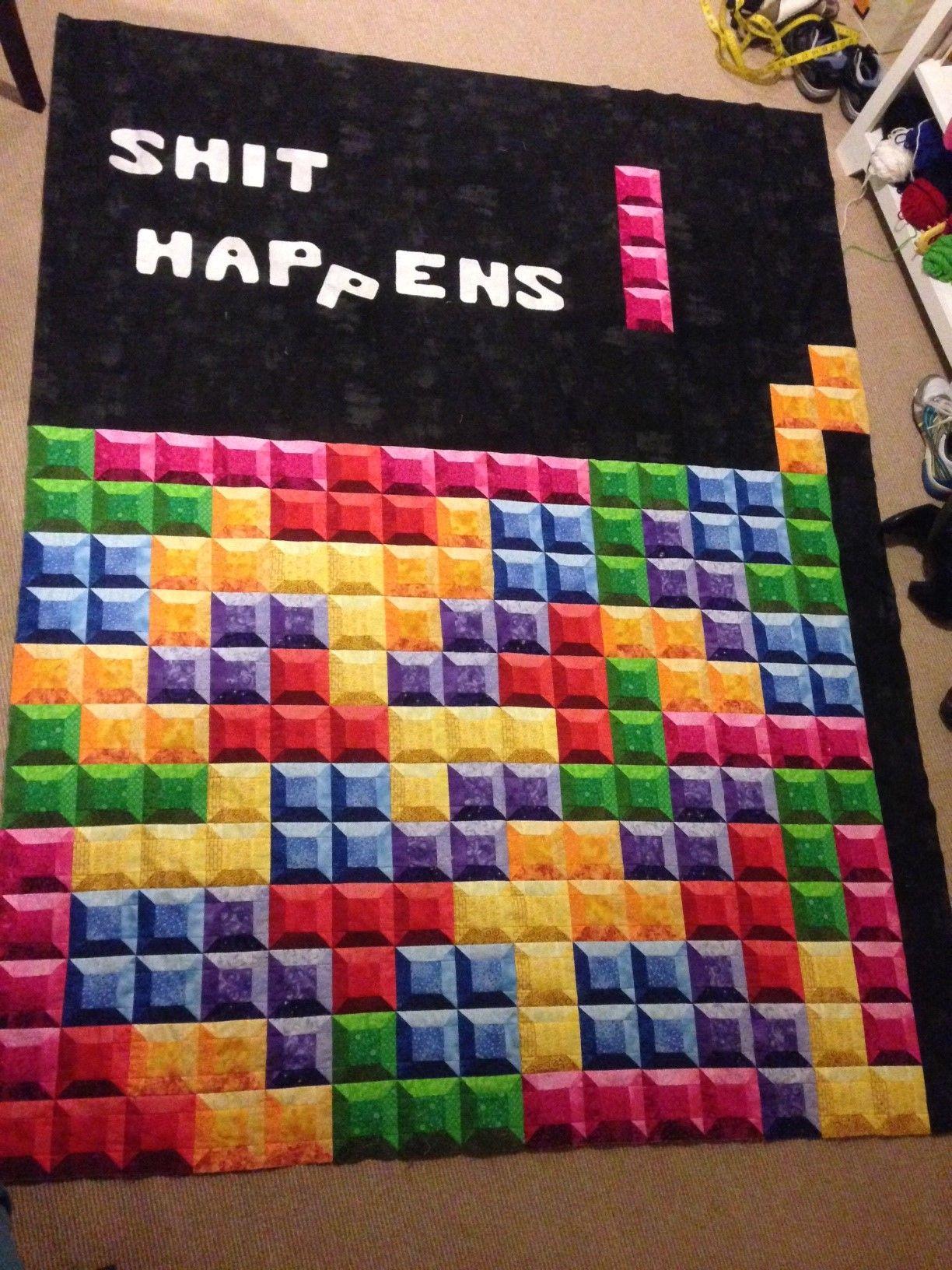 Tetris quilt 3D fabric shading white letters machine applique ... : fusible quilting - Adamdwight.com