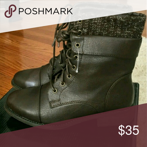 Brown combat boots New and super cute The size is 8 but it fits like a 7 and 1/2 Shoes Combat & Moto Boots