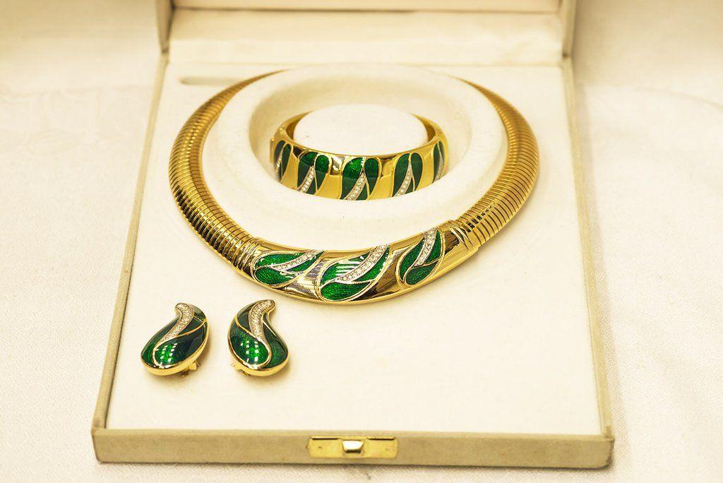 Christian Dior Bijoux Swarovski Paved Enamel Gold Tone Necklace