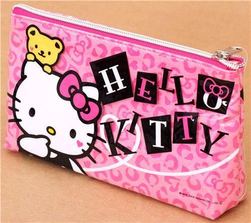pink Hello Kitty pencil case heart teddy bear de Japón 3