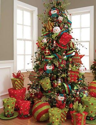 another tree with lime green and red Christmas Decor Pinterest