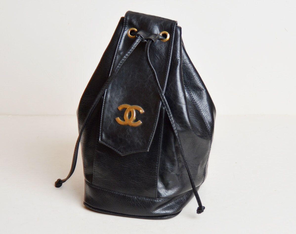 Vintage 70s 80s Black Cc Bucket Bag Bags Bucket Bag Vintage Leather Bag