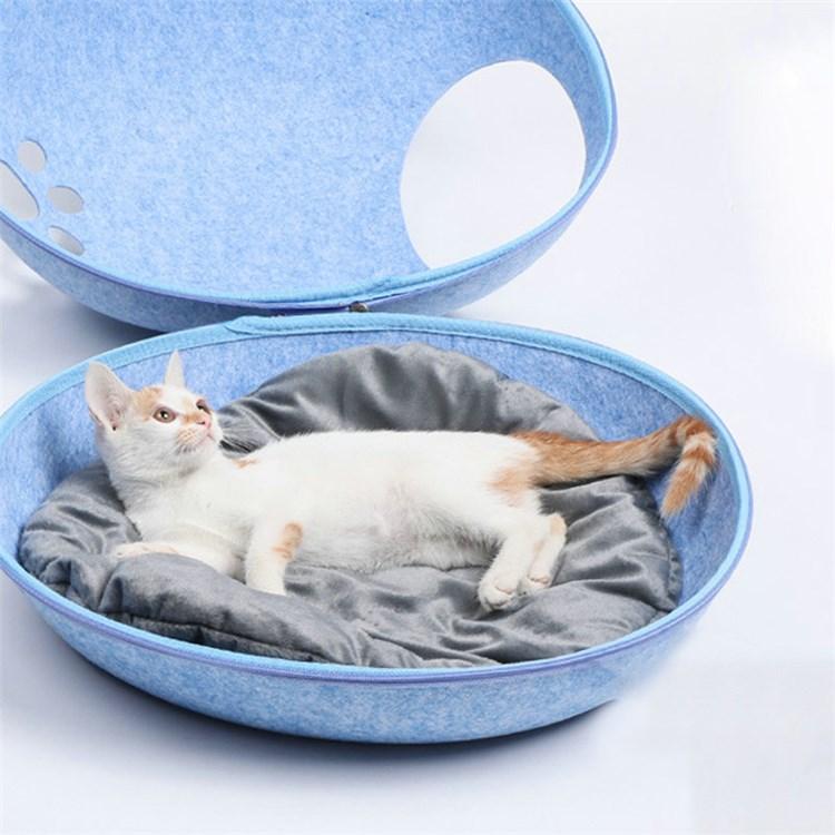 猫ベッド ペットハウス 猫用寝袋 隠れ家 フェルト ペットソファ 四季通用 犬猫用 ペット 猫 ペット用カート