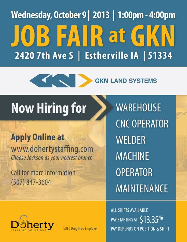 Doherty Job Fair for GKN in Estherville! Call 507-847-3604 for more - industrial maintenance worker resume sample