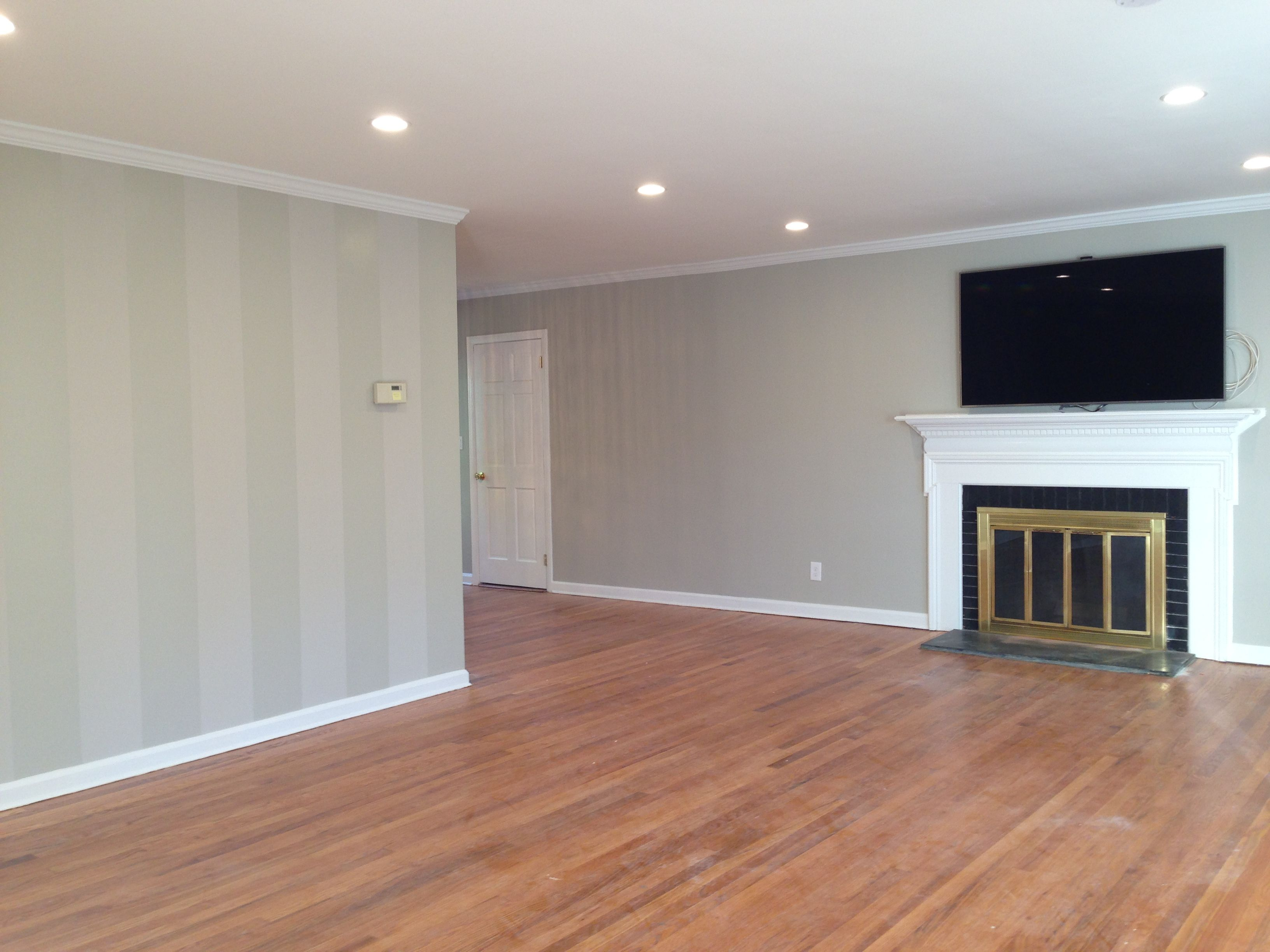 Attractive Casa De Rao   Pic Of Our Living Room Accent Wall! Gloss On Matte Painted  Stripes In BM Seattle Mist Semi Gloss And Rodeo Matte. BM Seattle Mist  Matte On The ...