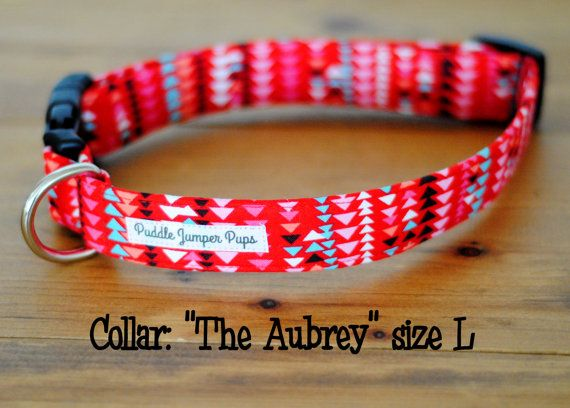 Red Geometric Dog Collar The Aubrey by PuddleJumperPups on Etsy