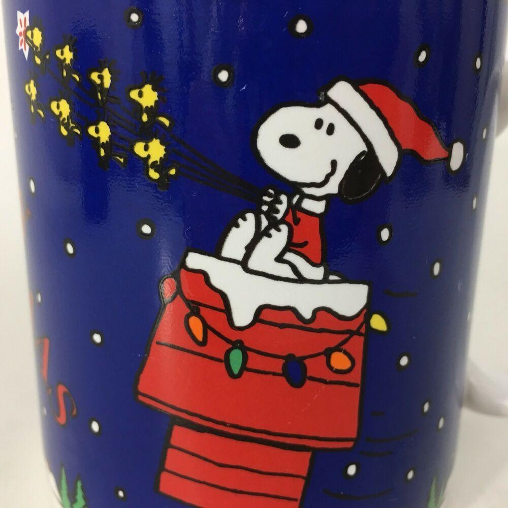 1995 Snoopy And Woodstock Merry Christmas Mug Flying Dog House