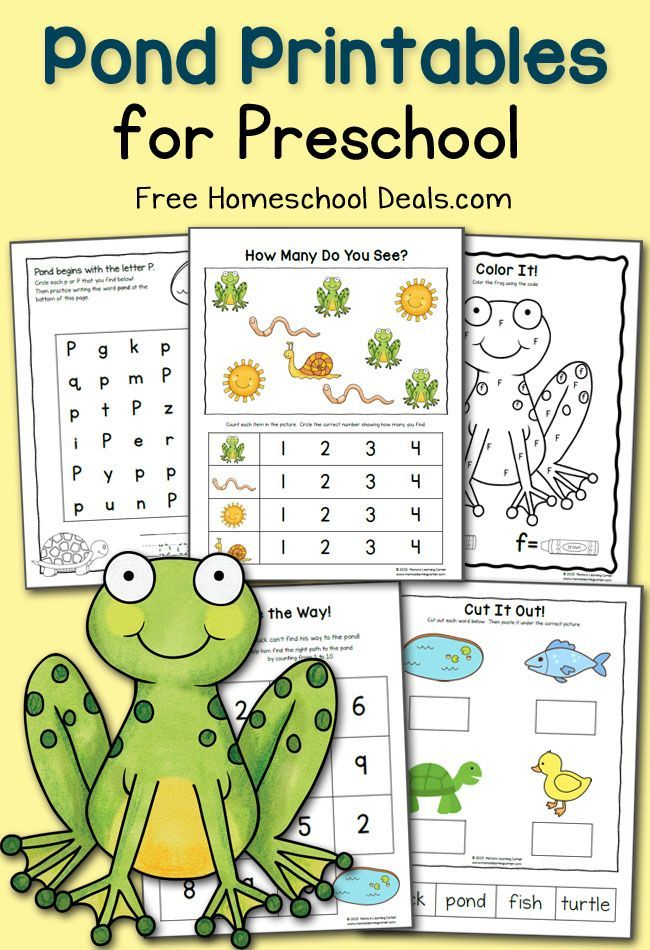 FREE PRESCHOOL POND PRINTABLES (instant download) Free