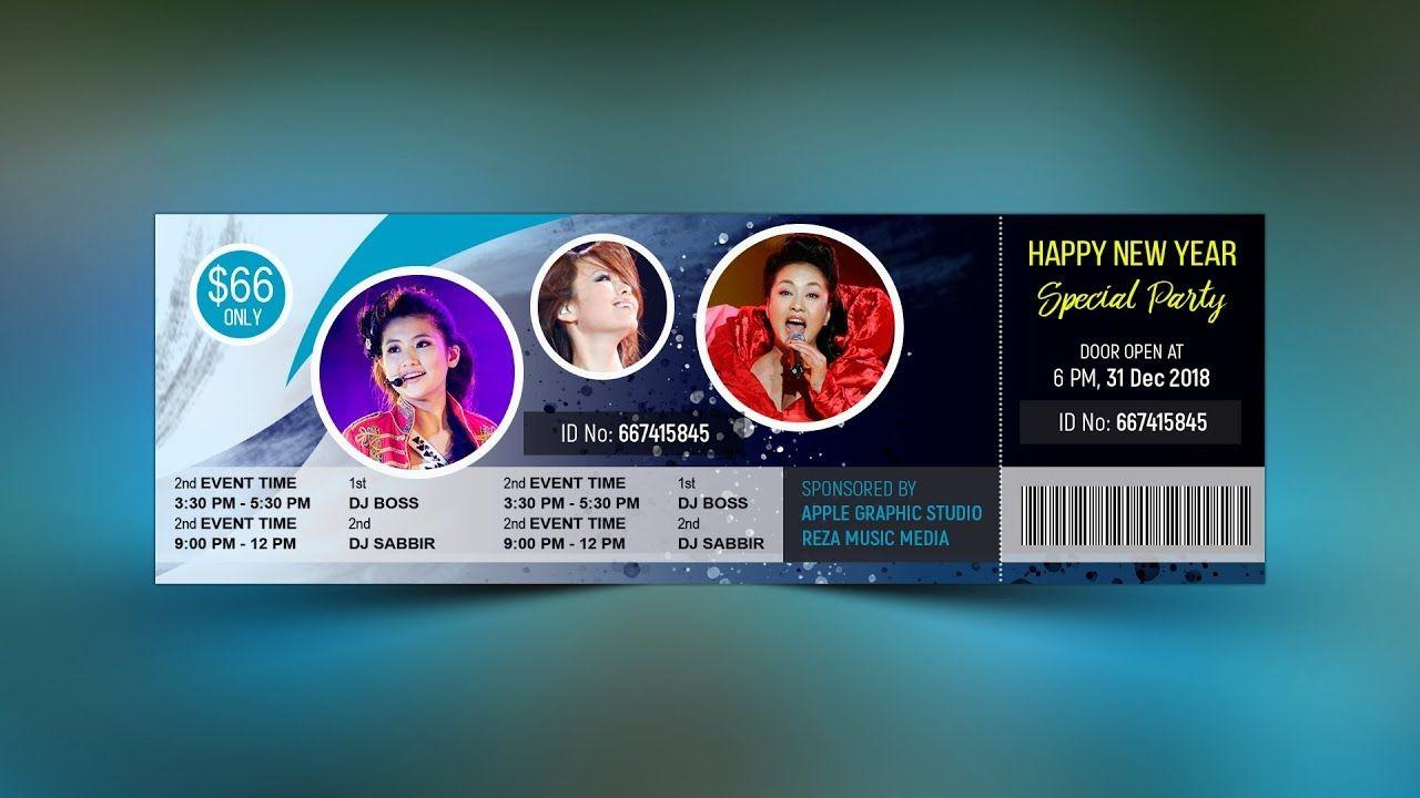 Party Event Ticket Design Photoshop Cc Tutorial Event Tickets Design Ticket Design Photoshop Design