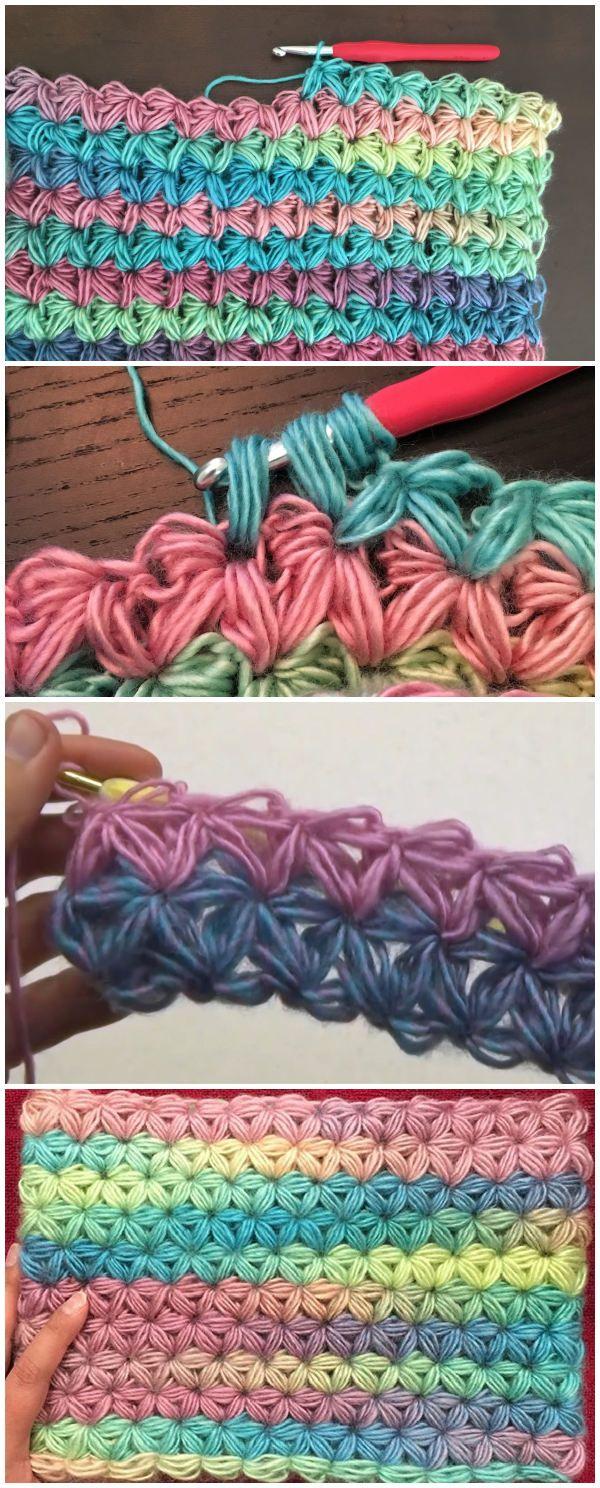 Crochet Jasmine Star Stitch With Videos | Crochet | Pinterest ...