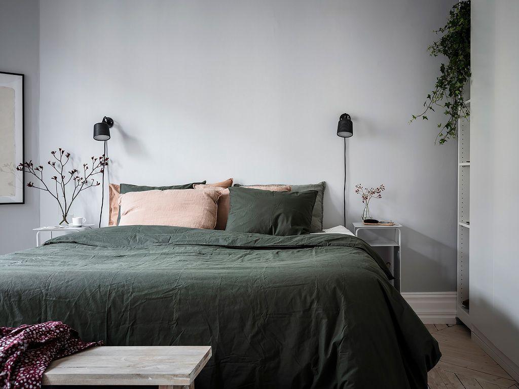 Cozy Bedroom In Green And Grey Gray Bedroom Walls Grey Bedroom