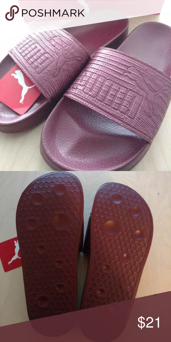 Puma Slides Women s Size 9.5 New with tags Amazing burgundy color Roomy and  comfortable Puma Shoes Sandals fe5af1409b