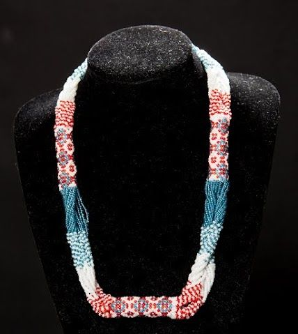 Blue White Red Seed Beads Necklace Jewelry, Elegant Women's Beadwoven Jewelry, Special Occasion Jewelry, Ethnic Jewelry, Unique Gift by TryBeads
