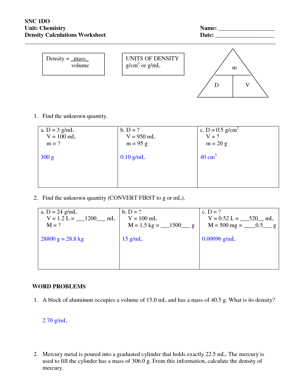 Science 8 Density Calculations Worksheet