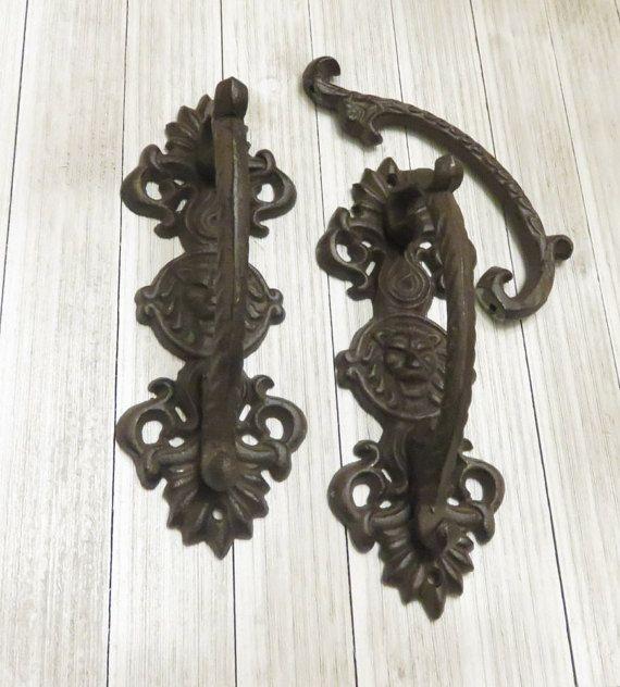 Two Vintage Wrought Iron Lion Head Door Handle Door