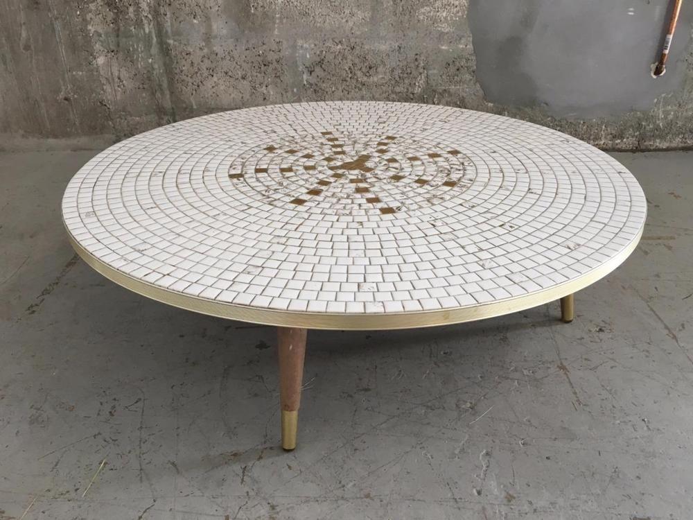 Vintage Mid Century Modern Mosaic Tile Coffee Table
