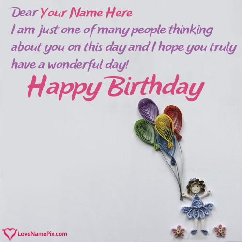Birthday Card Messages For Girl With Name Photo Happy