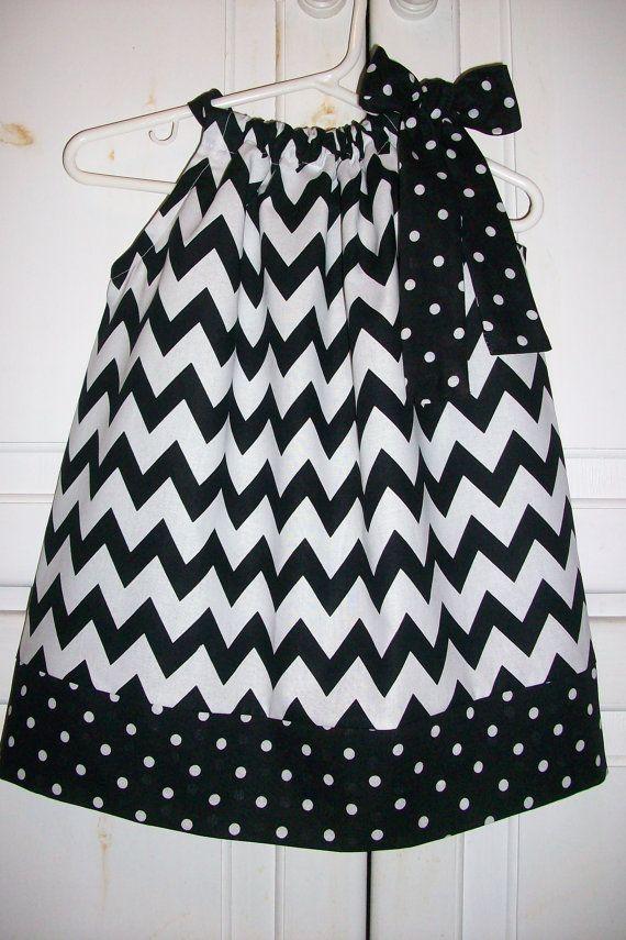 Pillowcase Dress Chevron Dress Black and White Dress Girls Dresses ...