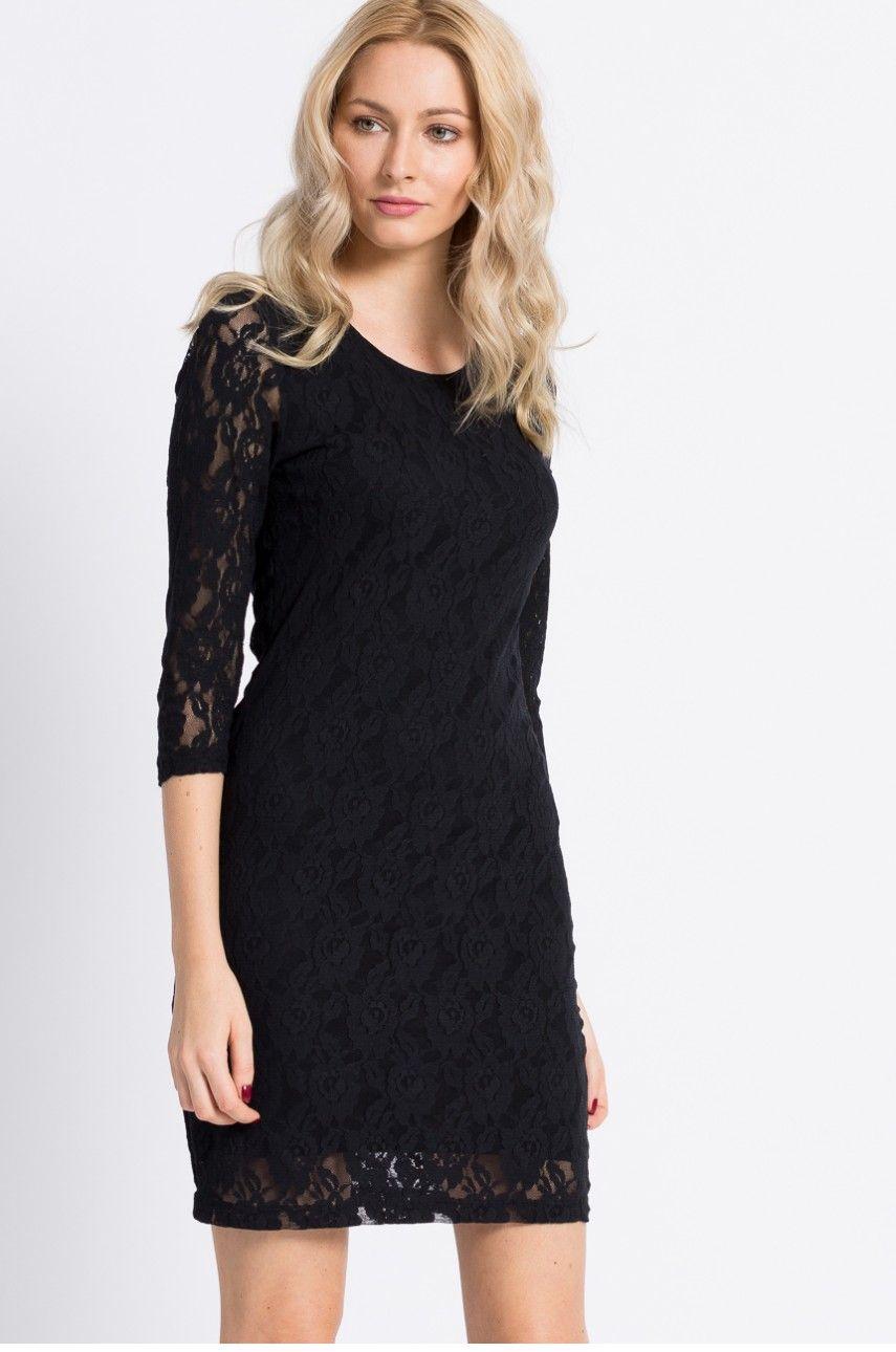e535fbc4b8 Elegancka czarna sukienka koronkowa mini Formalne Sukienki