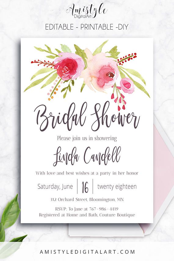 Printable bridal shower invitation card with elegant and romantic printable bridal shower invitation card with elegant and romantic watercolor roses by amistyle digital art filmwisefo Choice Image