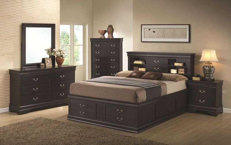 Louis Philippe Bedroom Set in Black with Storage Bed Master