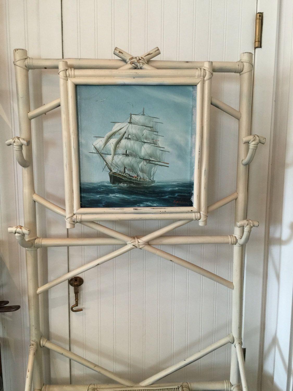 Vintage White Rattan Hall Tree w/ Ship Painting Ship