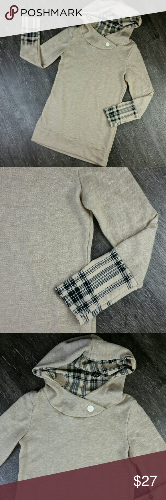 NWOT..LOVE this! Twenty Second Small Long Thin Knit Hoodie Beige Black Plaid Wide Cuffs Super Cute Wide Cuffs, Long Design, Great with jeggings or leggings and an awesome pair of boots! Tags were removed but item was never worn.  Crossover front neck with button detail hand wash cold, flat lay dry 26 inch sleeves (measuring from shoulder seam to bottom wrist) 40 inch bust 24 inch length measuring side seam from underarm to bottom of shirt 31 inch length measuring down center back from base…