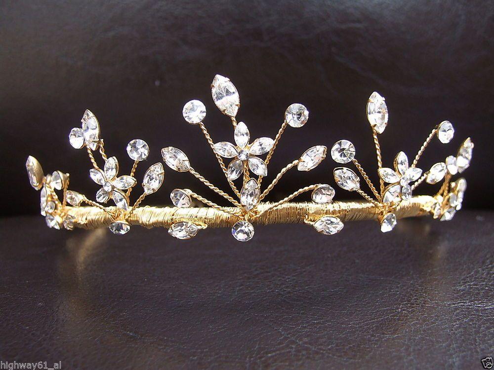 Stunning Flower Bridal Tiara Diamante Rhinestone Gold Bridesmaid