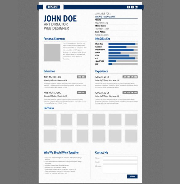 Free Professional Resume Psd Cv Template By ShinydiceDeviantart