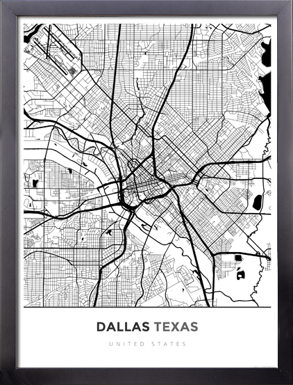 Framed Map Poster of Dallas Texas   Simple Black Ink   Dallas Map