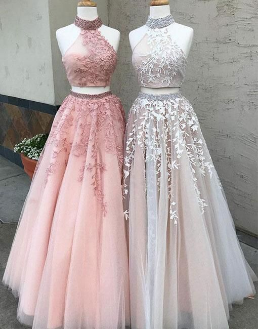 New Arrival Pink Prom Dress,2018 Prom Dresses 2 pieces Long Sexy 2 ...