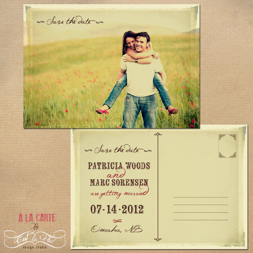 Save The Date Card  Wedding Postcard  Vintage Postcard  For Our