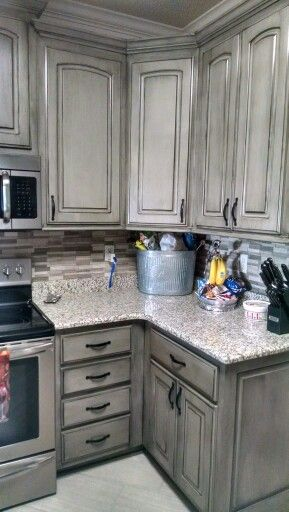 Valspar aspen gray with black glaze creative remodeling Painting your kitchen cabinets white and gray