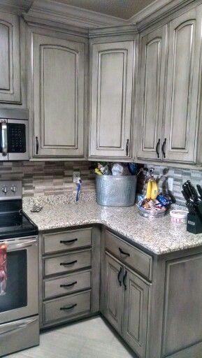 Valspar Aspen Gray With Black Glaze Glazed Kitchen Cabinets