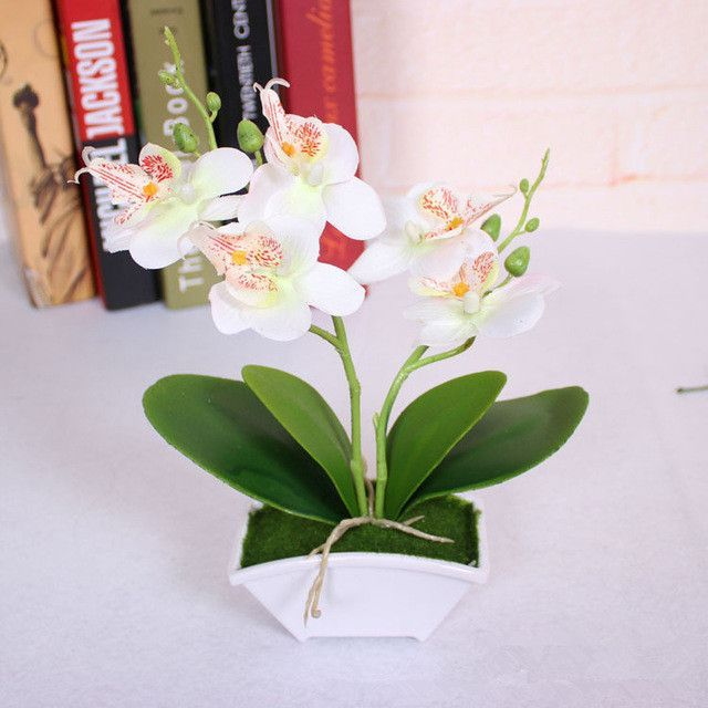 Small Artificial Butterfly Orchid Flower Set With Real Touch Leaves Artifical Flowers Artificial Flowers Artificial Butterfly