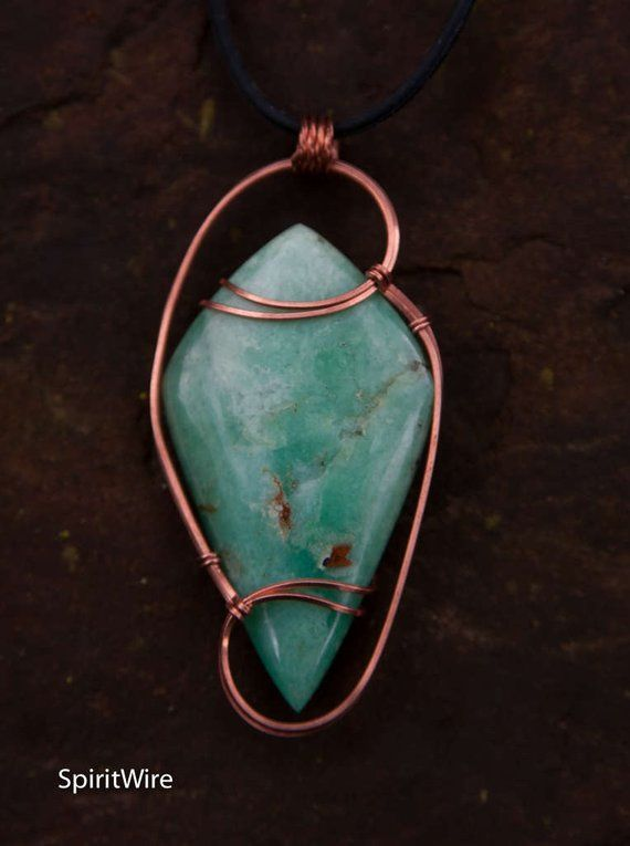 Colossal Chrysoprase Wire Wrapped Stone Pendant, Copper Wire Wrapped ...