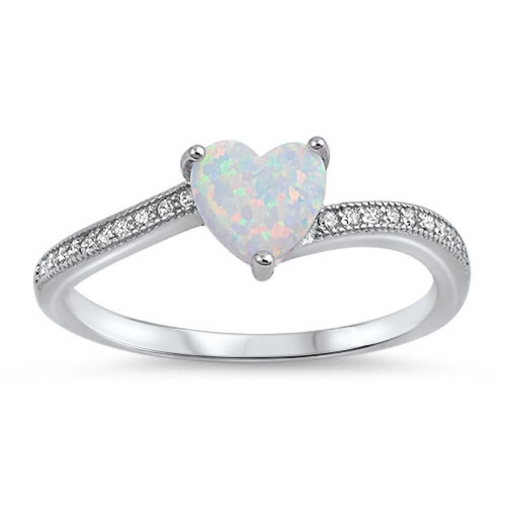 6cba6532bf Dainty Engagement Heart Promise Ring Heart Shape Lab White Opal Round Clear  Diamond CZ Accent Dazzling Solid 925 Sterling Silver